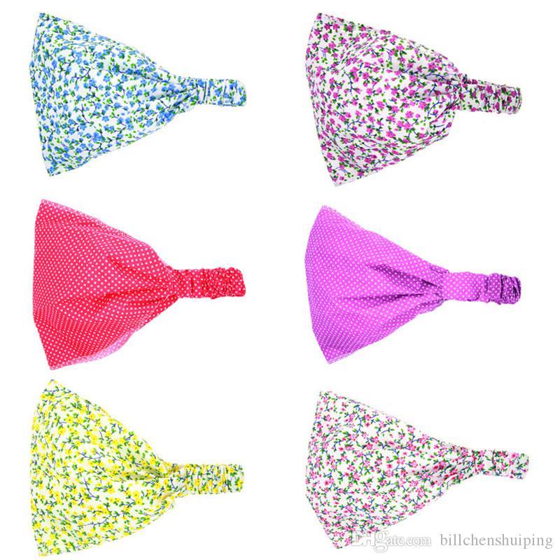 Heiße neue baby mädchen turban stirnband für kinder mädchen elastischer druck floral bandana haarband headwrap kinder haarschmuck