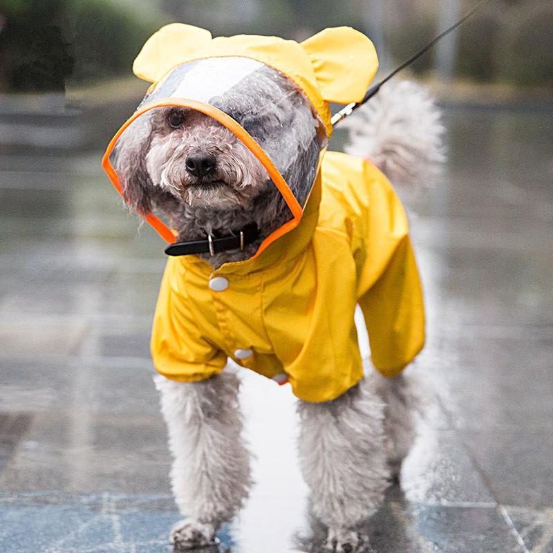 للماء سترة الكلب معطف واق من المطر في الهواء الطلق تنفس الكلب للكلاب الصغيرة مع هود شفاف الحيوانات الأليفة الجرو معطف المطر مستلزمات الحيوانات الأليفة