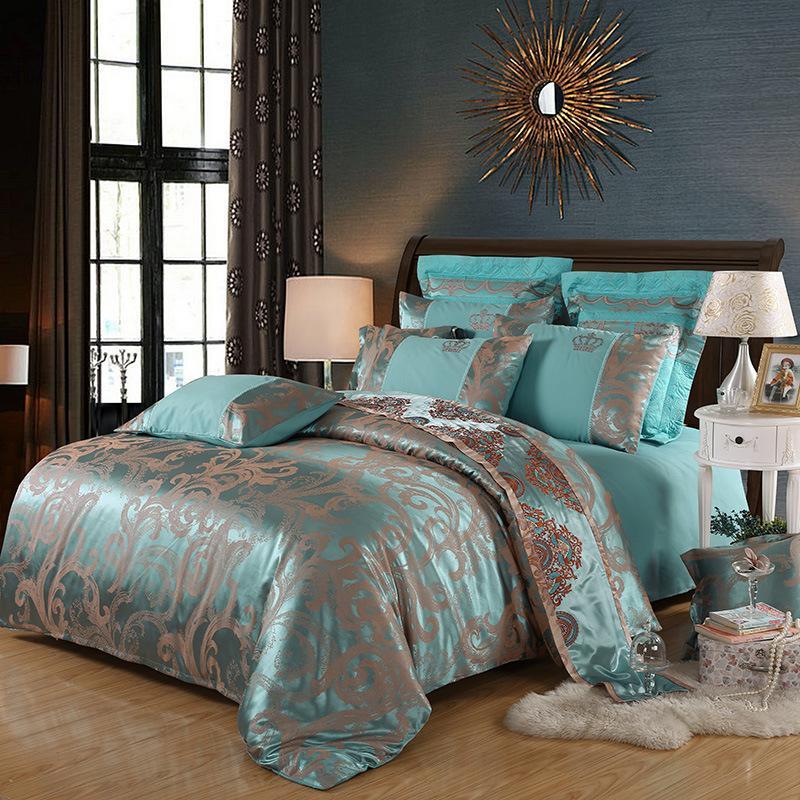 디자이너 침구면 새틴 자카드 퀸 킹 사이즈 침대 침구 이불 커버 시트 세트 베개 4 개 세트 Cny1863을 설정합니다