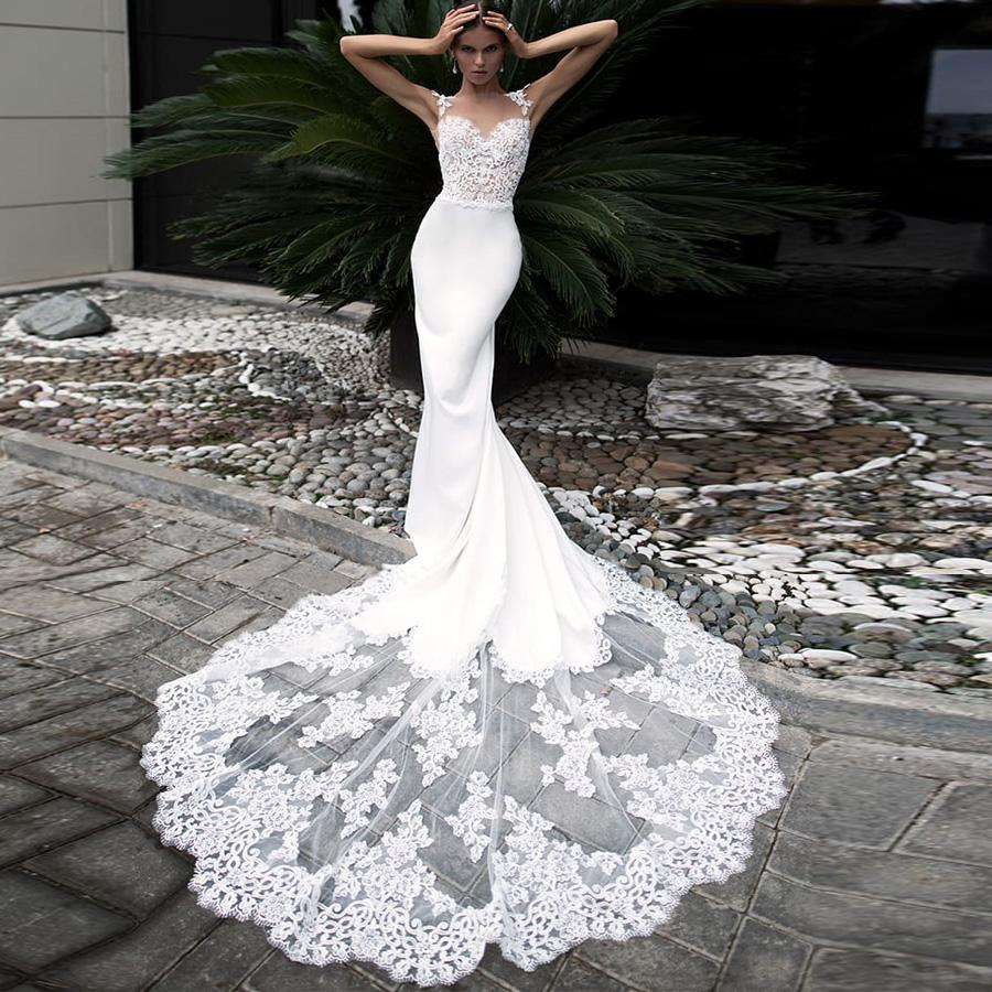 Vestido de casamento sereia sexy elegante longa laço trem manga vestidos de noiva personalizados vestidos de novia