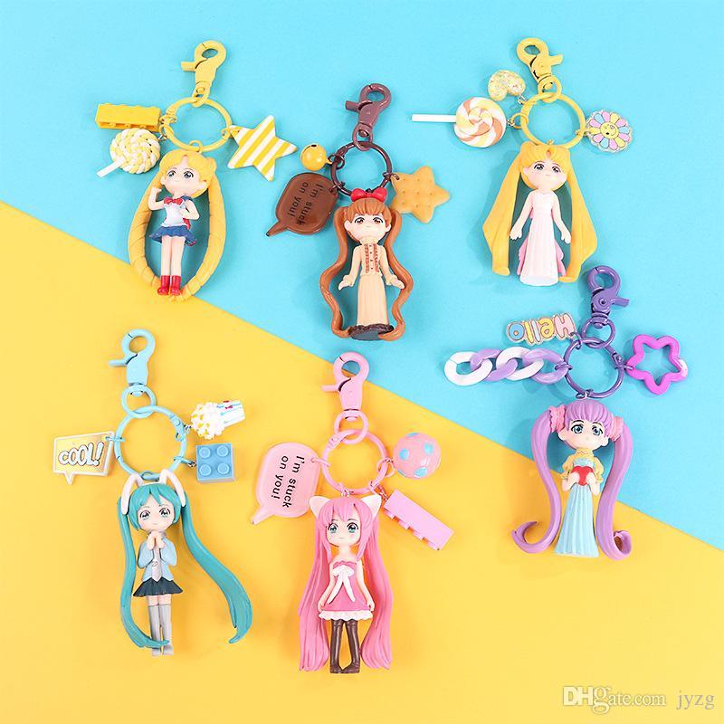 Macarons creativa de dibujos animados Sailor Moon Kawaii Llavero de los pares del coche llavero Mochila colgantes regalo lindo de la joyería femenina de la moda