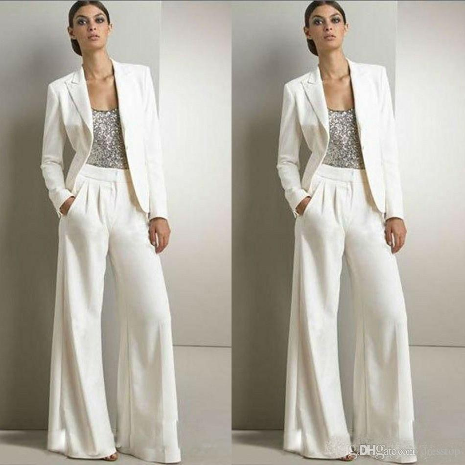 2020 New Bling Sequins Ivory White Pants Suits Mother Of The Bride Dresses Formal Tuxedos Women Party Wear New Fashion Modest Suits
