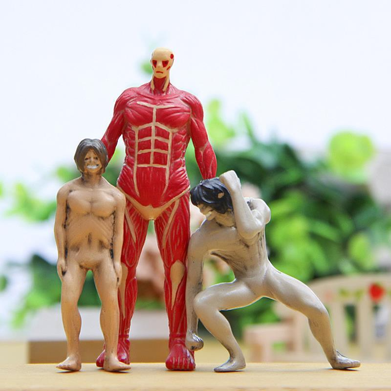 3pcs/lot Japan Anime Attack On Titan Colossal Cute Figures Cute Attack On Titan PVC Action Figure Toys Doll Collection Model Toy MX200319