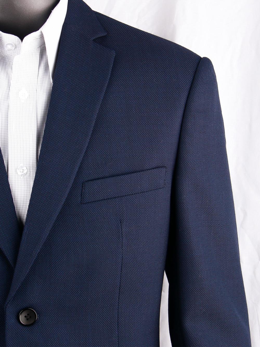 Lacivert Nailhead İş Erkekler Erkekler için Custom Made Slim Fit Yün Blend Kuş bakışı Düğün Suits, Tailor Made Damat Takım Elbise T200324