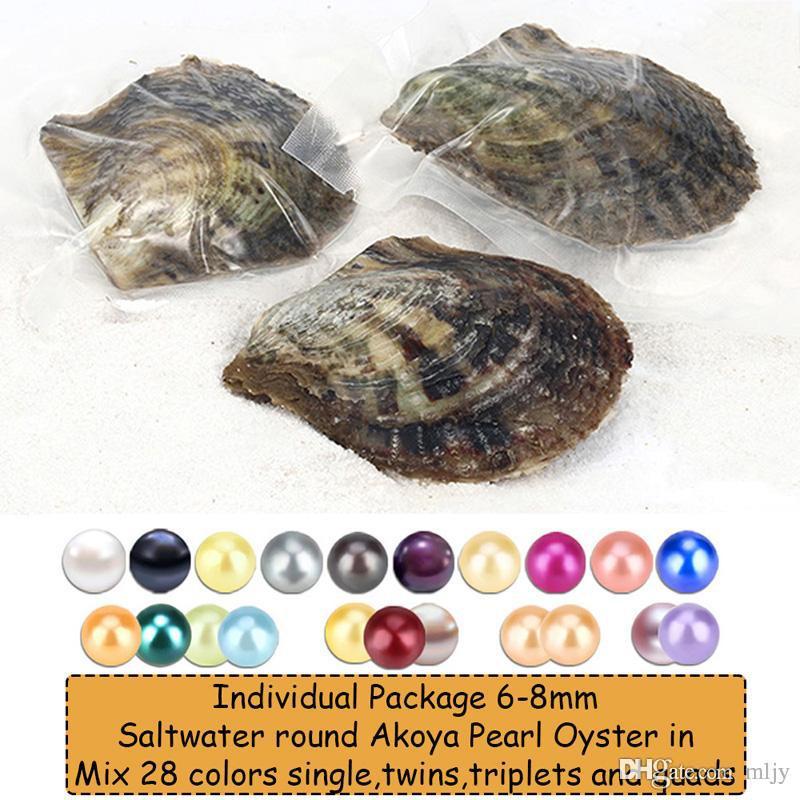 MLJY Perla Natural 6-8 MM Perla Redonda en Ostras Akoya Oyster Shell con Colouful Perlas Joyería Por Envasado al Vacío 20 Unids / lote