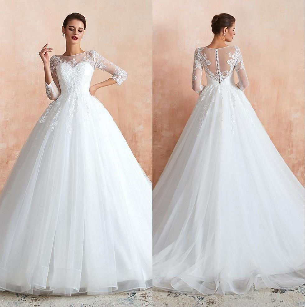 Elegante pizzo abito di sfera Abiti da sposa 2020 a maniche lunghe in tulle appliquéd Plus Size musulmana Dubai Abiti da sposa al 100% reale Immagini BM1411