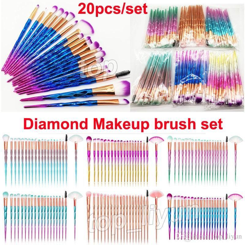 Escovas de diamante 20PCS Set Pó Escova Kit de rosto e dos olhos Escova Puff Batch Fundação colorido Escovas escovas beleza Cosméticos por DHL