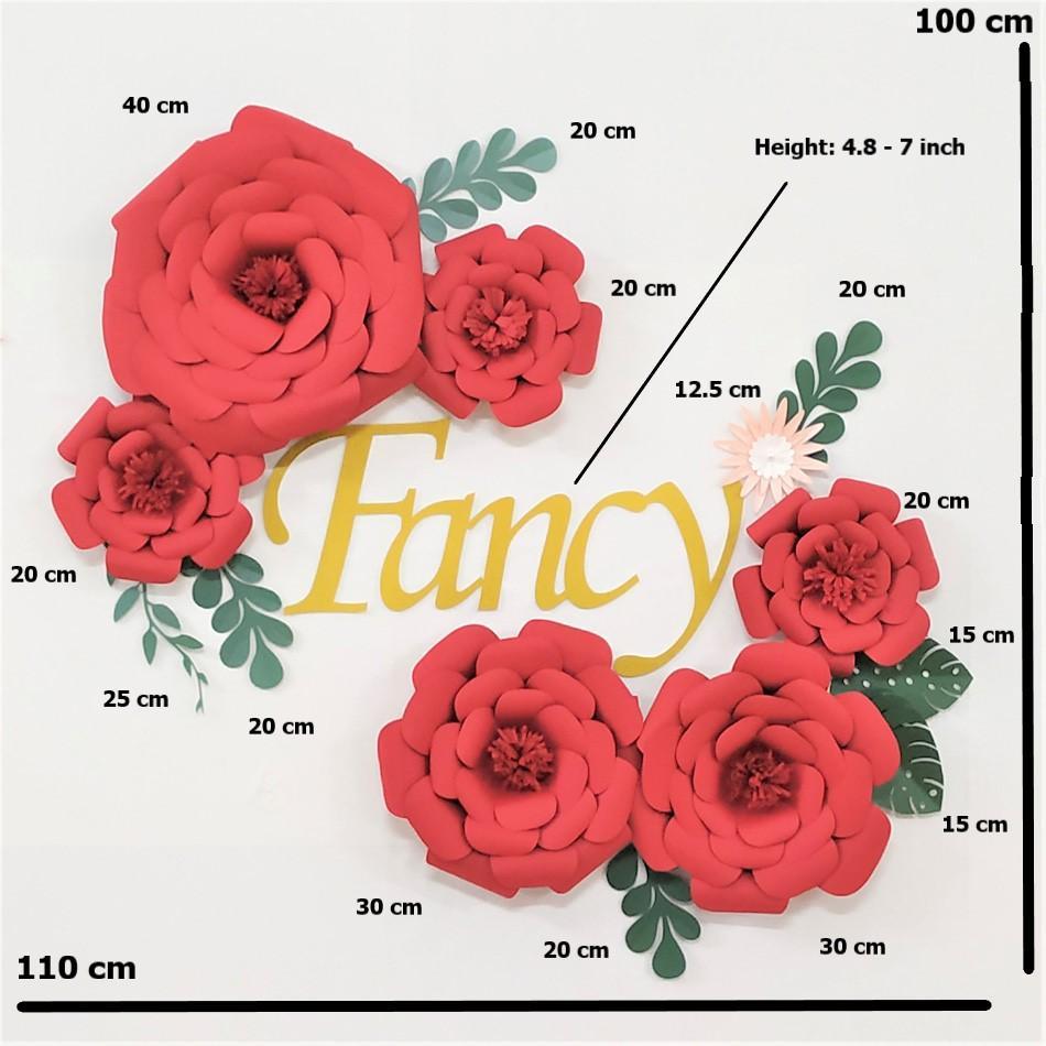 Bricolage papier Feuilles Fleurs Set Nursery pour bébé fille Nursery Wall Art Enfants Chambre Décoration bébé Chambre Mur Décor Floral Rose Deco