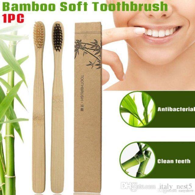 Yeni Ahşap Gökkuşağı Diş Fırçası Bambu Çevre diş fırçası Bambu Fiber Ahşap Saplı Diş fırçası Beyazlatma Gökkuşağı
