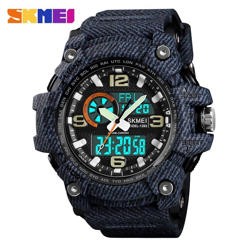 SKMEI Top-Marke Luxus-Sport-Uhr Männer Military 5Bar wasserdichte Quarz-Uhren Dual Display Armbanduhren Relógio masculino 1283