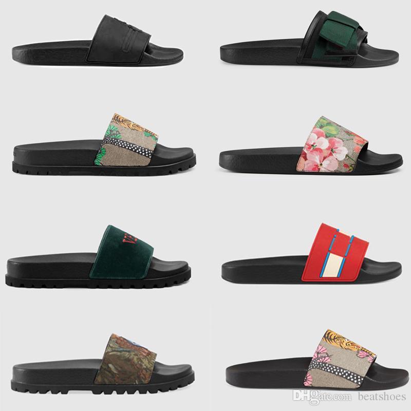 2019 Designer de Moda Slides Mens Flip Flops Listrado Engrenagem Bottoms Sandálias de Alta Qualidade Chinelos Não-Slip Das Mulheres Dos Homens Sandálias de Praia Tamanho 5-11