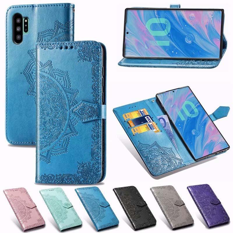 flip cordón de la carpeta de cuero impronta Mandala de la flor del caso para el iphone 11 Pro XR máximo XS MAX 6 7 8 PLUS Samsung S10 PLUS PLUS Nota 10 S10e S9 NOTE9