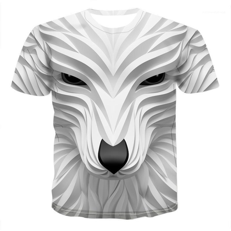 El diseñador de moda del estilo de manga corta de cuello redondo camisetas para hombre de la personalidad Tops Animal Print 3D para hombre camisetas