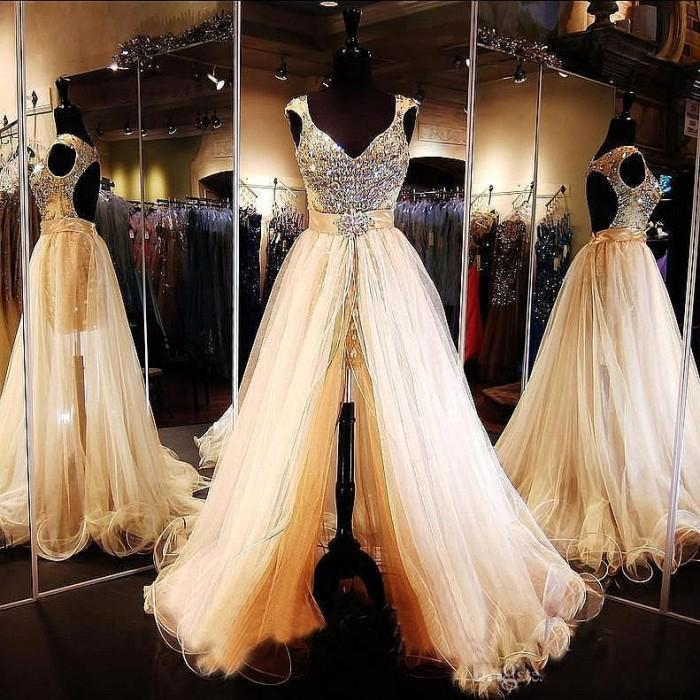Champagne Rhinestone Prom Dresses with Detachable Train Keyhole Back See Through Evening Gowns Formal Crystal Pageant Dress