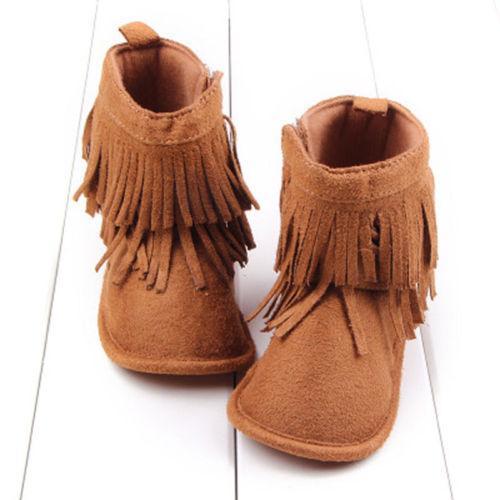 Quaste Europa Neugeborenes Baby warme weiche Sohle Stiefel Quaste Mokassin Schnee-Winter-Baby-Jungen-Schuhe 0-18M