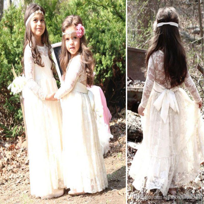 Nouvelle robe de fille de fleur de plage rose Boho robe de première communion petite fille col rond manches longues robe de mariée pour enfants