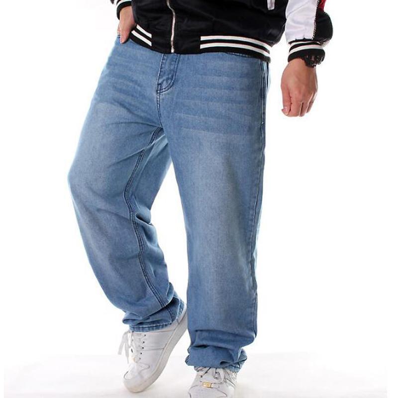 Gli uomini perdono dei jeans di hiphop dei jeans di skateboard pantaloni larghi pantaloni denim hip hop ad uomini dei jeans più di formato 46 rap