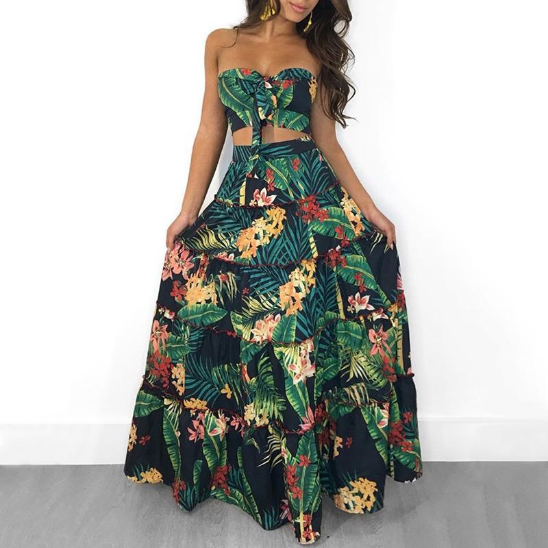 새로운 보헤미안 섹시한 여성 두 인쇄 리넨 조각 세트 자르기 최고 긴 스커트 꽃 여자의 끈이 붕대 주름 높은 허리 캐주얼 정장
