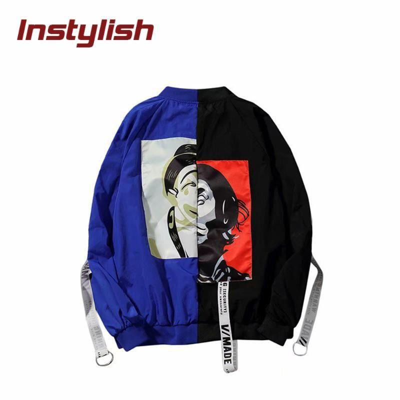 Instylish Kadınlar Moda Renkli Blok Patchwork ceketler Sonbahar Kız Uzun Kollu O Boyun WINDBREAKER Kasetli Renk Bombacı Coat 2020