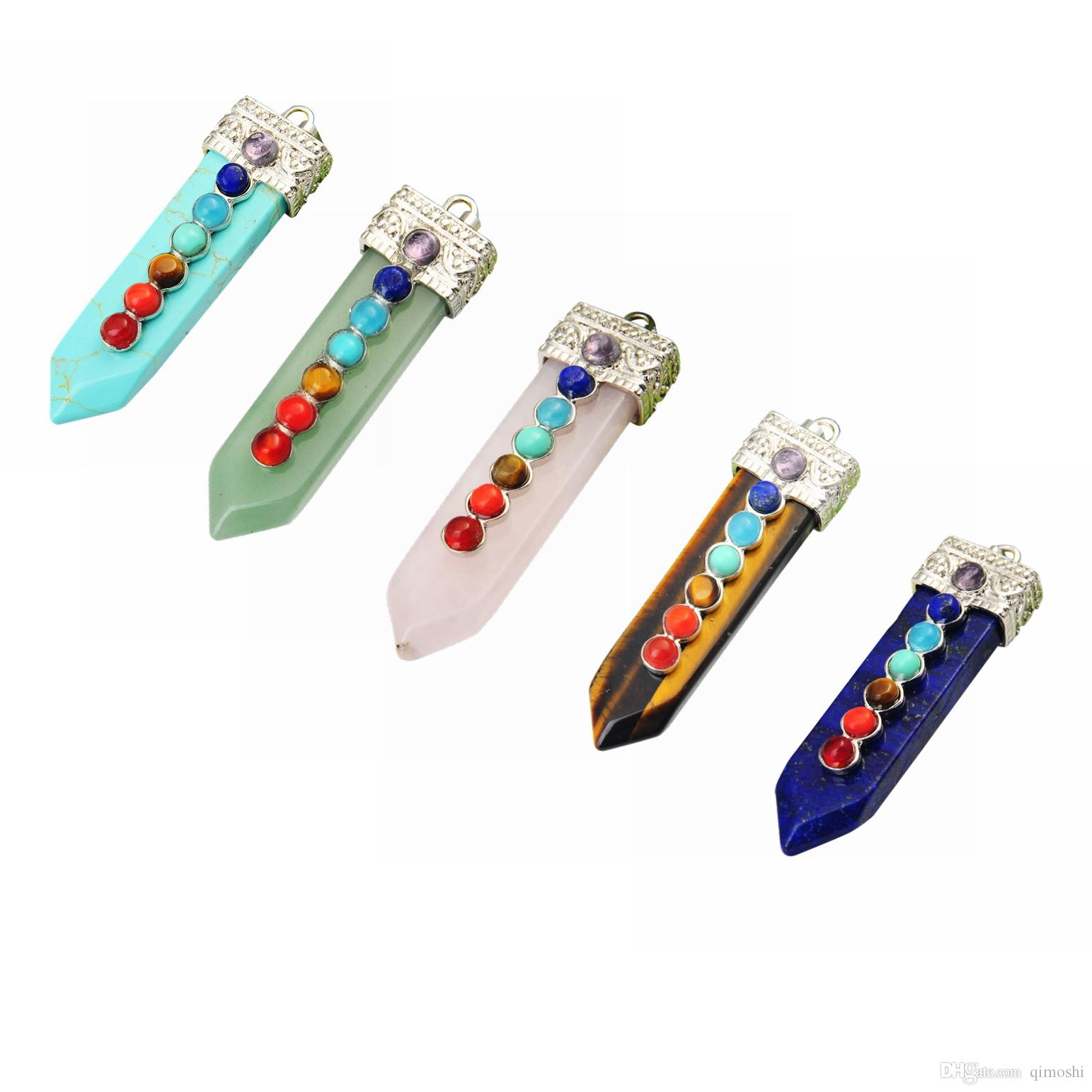 Seven chakras sword-shaped pendants for men and women meaning popular fashion 2019