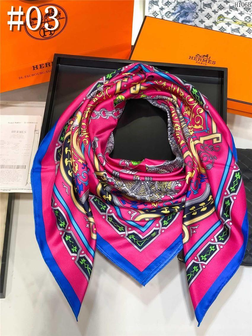 anello lungo collo sciarpa di seta 2020 Lettera delle donne di modo caldo scialle sciarpa 19ss Primavera 100% regalo di Natale 140x140cm all'ingrosso