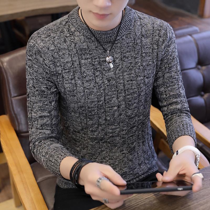 Inverno O-Collo del maglione degli uomini del manicotto lungo Nuovi maglioni del pullover da uomo 2019 Nuova Fahsion casual Maglione fatto a maglia Pull Homme M-3XL V191022