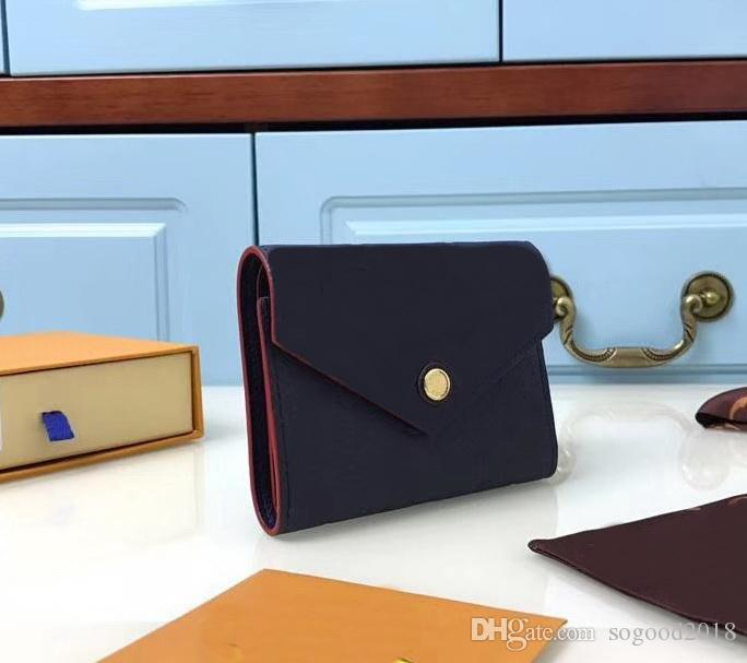 Marca Mulheres / Homens casuais Hasp Titulares do Cartão Curto carteiras Victorine Alta qualidade 12 cm Bolsas de bolso Carteiras com caixa de sacos A2