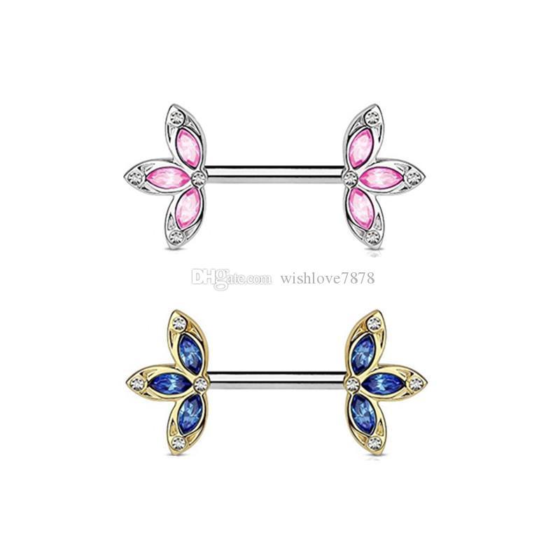Paslanmaz Çelik Meme Klip Kristal Yaprak Çiçek Meme Yüzük Rhinestone Vücut Piercing Takı Kadınlar Için