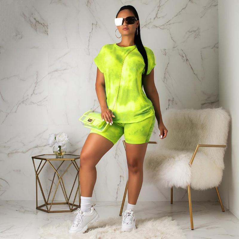 Two Piece Dress Summer Casual Tie Dye Clothing Short Sleeve T Shirt Shorts Track Suits 6 Colors 2021 Women Clothes Set Tracksuit