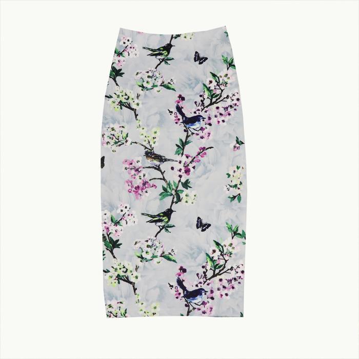 #118 Women's Summer skirts high waist slim hip-package digital printing floral split half skirts