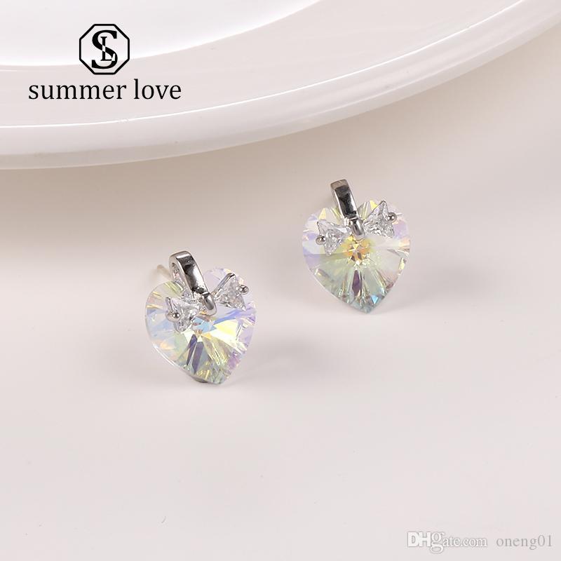 Diseñador coreano de moda Corazón de cristal 925 Pendientes de aguja de plata para mujer Chica Pendiente de circonio cúbico Elegante Novia Fiesta de boda
