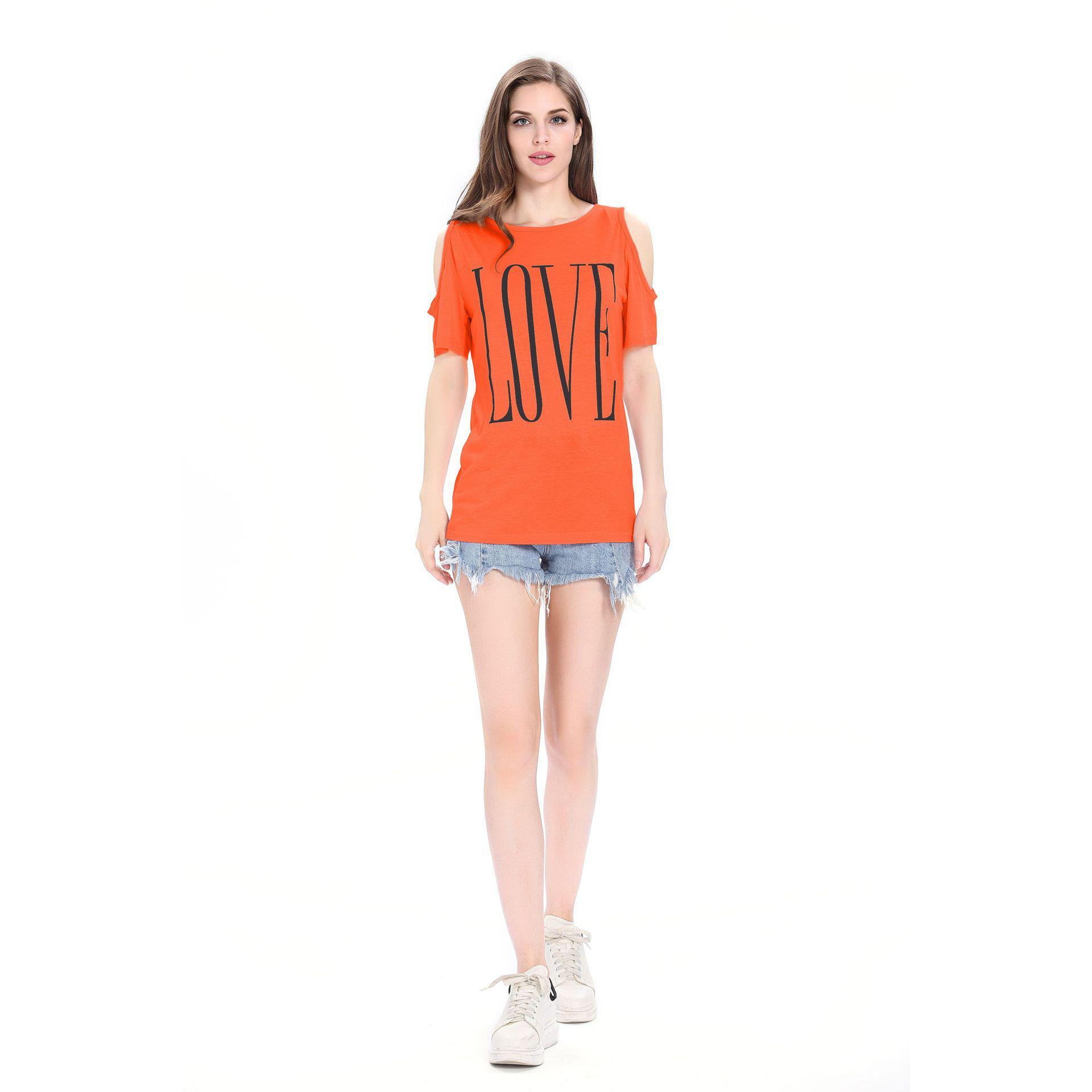Frauen-Designer-T-Shirt 2019 Sommer neue Art und Weise druckt Off-die-Schulter-Kurzschluss-Hülsen-beiläufige lose Buchstabeliebescharme-Top Fashion Off-die-Schulter-T