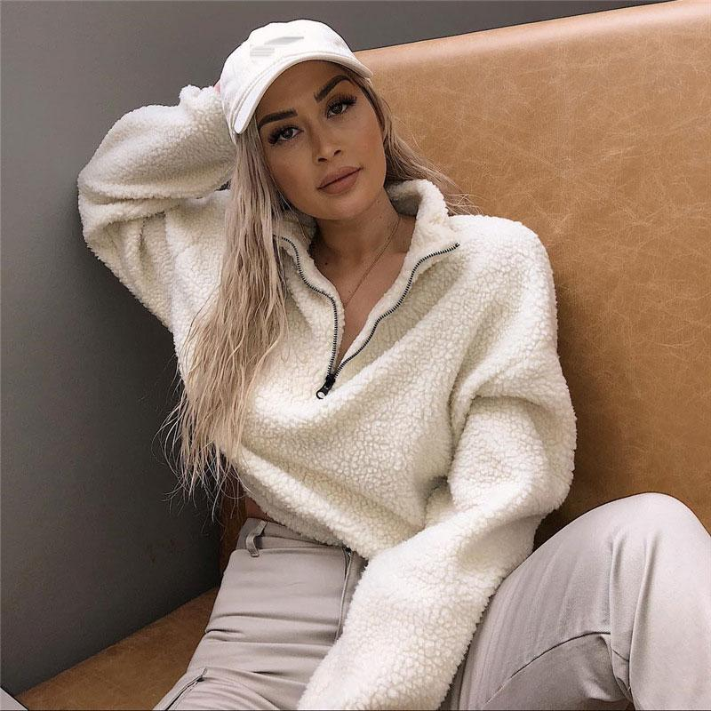 Long Sleeve White Cropped Hoodies Women Autumn Winter Pullover Short Sweatshirt Plush Zipper Faux Fur Fluffly Sweatshirt 2019