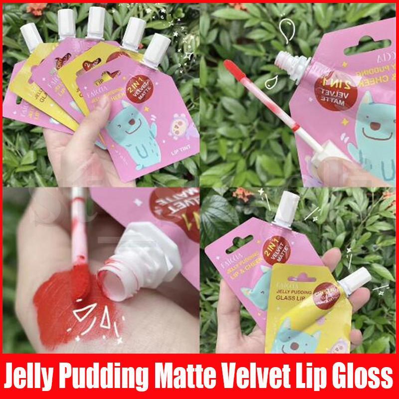 Макияж губ Блеск для губ 13 цветов Водонепроницаемый Жидкая губная помада Продолжительный Блеск Матовый Бархат Желе Пудинг Glass Lip Tint Cheek