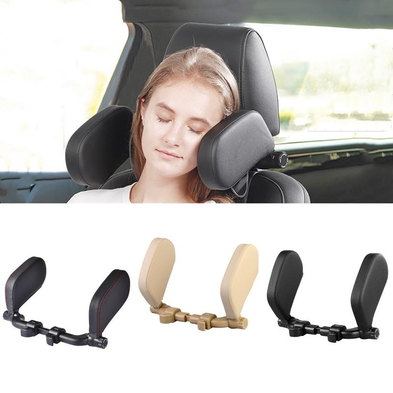 Car Headrest Adjustable Safe Car Seat Pillow for Head and Neck Support Travel Sleeping Cushion for Kids Adults Beige black