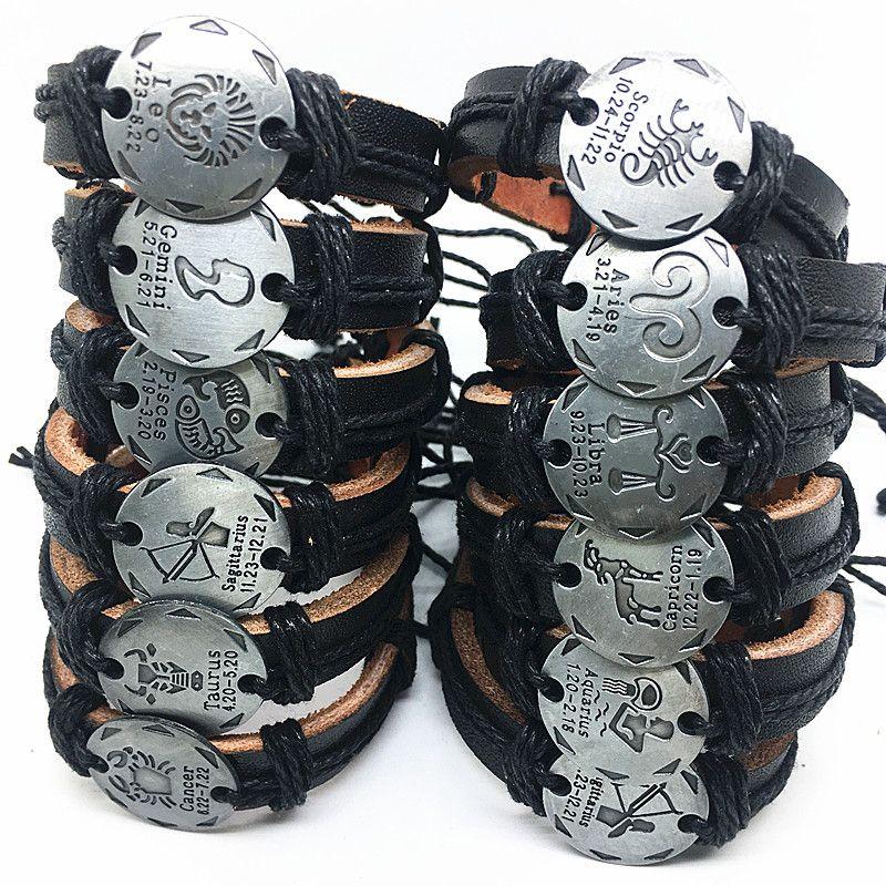 24pcs / lotto Mix 12 costellazioni braccialetti di cuoio Handmade polsino per le donne degli uomini dei braccialetti Braccialetti dropshipping all'ingrosso nuovo di zecca