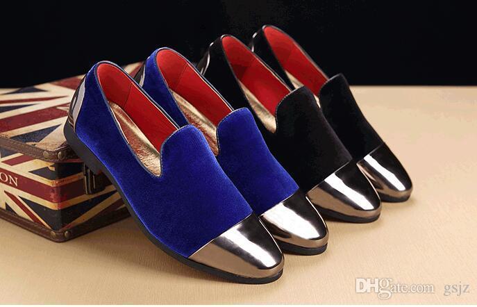 Mocassini di lusso fatti a mano Velluto di moda BLU NERO Rosso classico business in pelle scarpe da uomo di marca scarpe da festa Z128