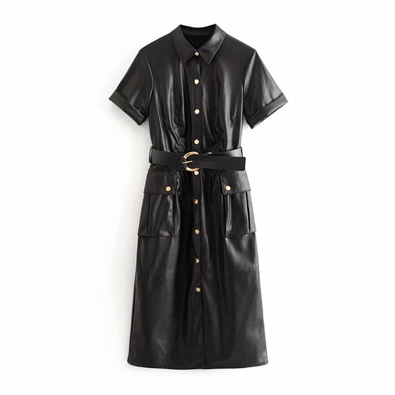 Moda PU de couro falso Mulheres vestido de manga curta Sólidos Casual vestido elegante desligar bolsos Collar Vestidos com cinto Vestidos