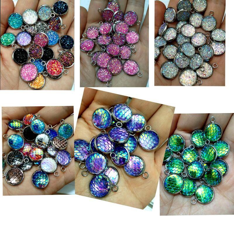 Perline di resina Druzy 100pcs lotto per monili che fanno i fascini allentati Lampwork fai da te per orecchini bracciali all'ingrosso in massa a basso prezzo