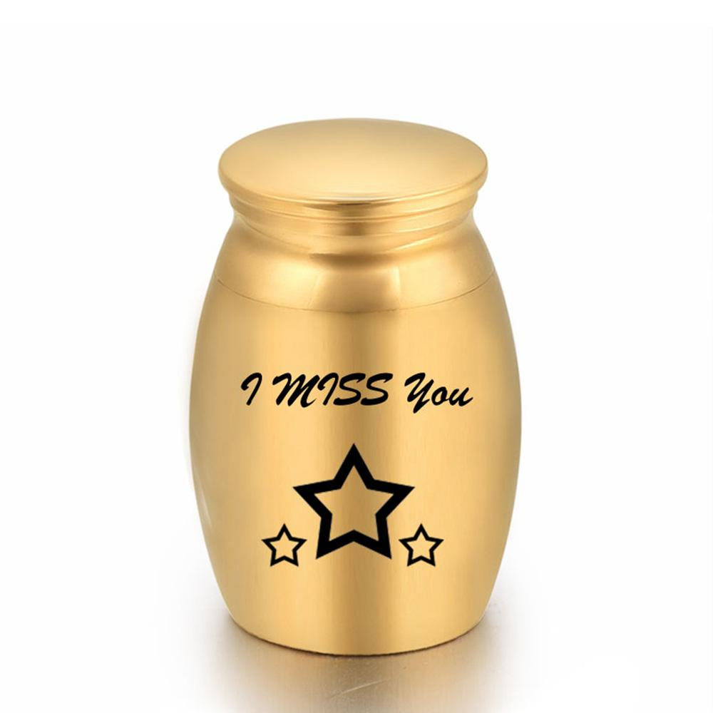 I Miss You Aluminum Alloy Stars Funeral Urns for Human/Pet Dogs Cats Ashes Keepsake Miniature Burial Funeral Urns 16x25mm