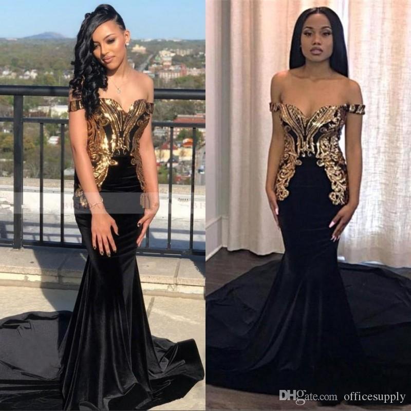 アフリカの人魚の黒いウエディングドレス2019ロングゴールドのアップリケエレガントな肩の注文の黒人女の子イブニングパーティーガウン
