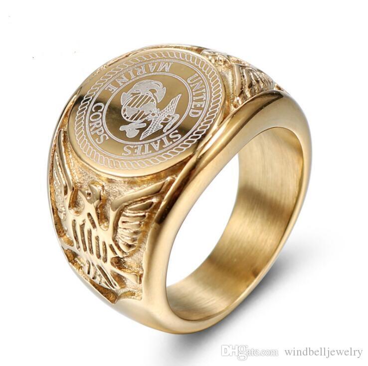 Männer 316L Edelstahl United States Marine Corps Gold Ring Klassik Titan Stahlguss Soldat Abzeichen Ring Adler Mode-Ring