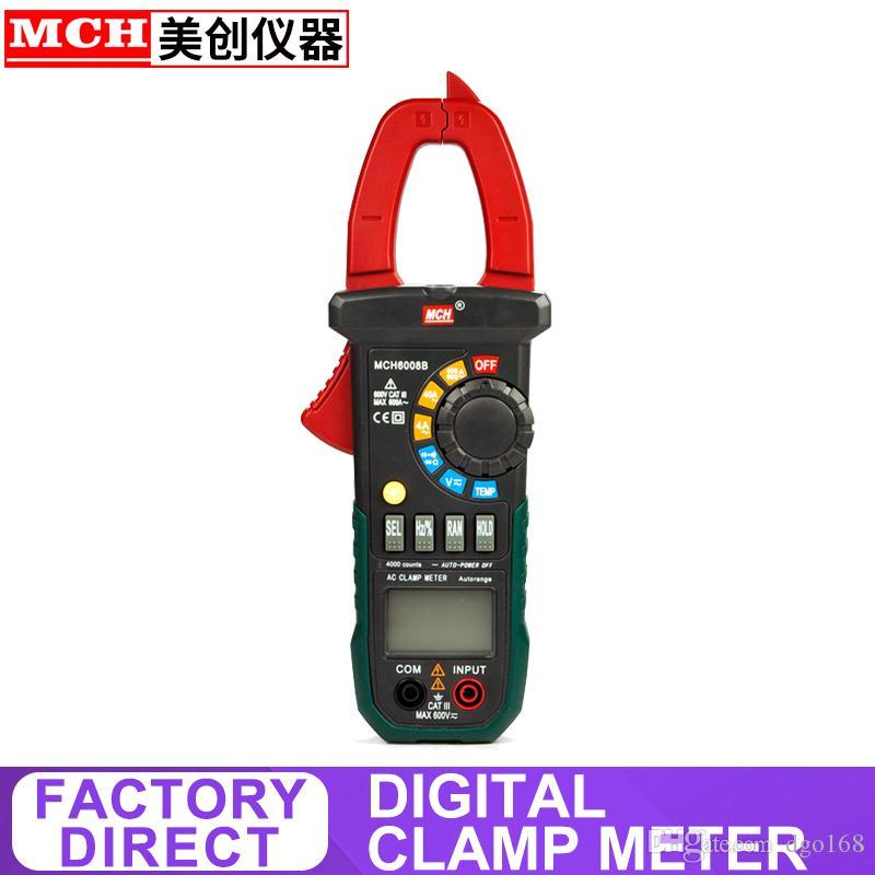 alicate Digital DC AC 600V 600A teste de diodo tomada de corrente e tensão fábrica alicate amperímetro poder MCH-6008A 6008B