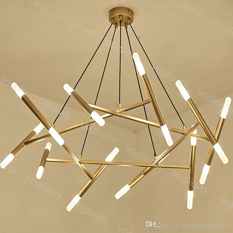 Modern Pendant Lamps LED Round Acrylic G4 110V/220V 16 20 Heads Hanging 100cm Gold Metal Warm White For Restaurant Living Room DHL