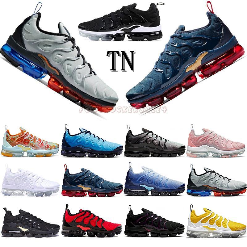 Nike Air Vapormax Tn Plus vapors 2020 New TN Plus Running Shoes USA Triple Black tns Cushion Mens Trainers Women Sports Sneakers