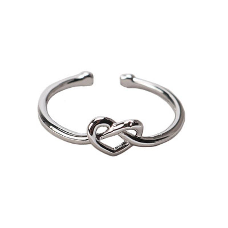 Silver Plated Infinity Knot Ring Simple Knuckle Heart Knot Rings Star Crown Rings for Women Girl Wedding Engagement Jewelry Christmas Gift