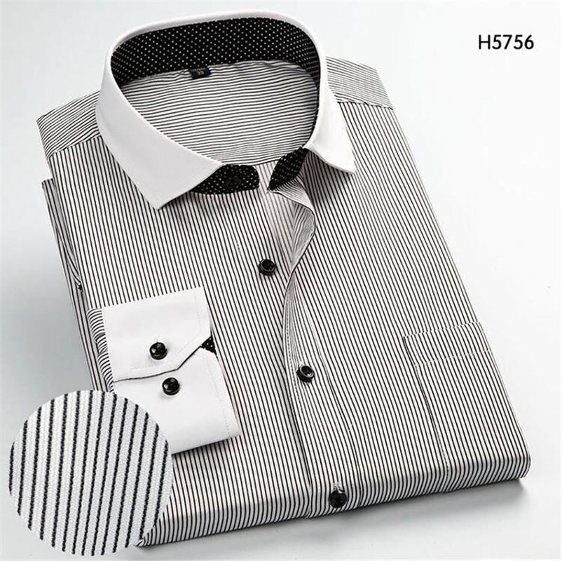 2019 Black Plaid Work Office Dress Shirts Men's Long Sleeve Shirts Business Casual Stripe Shirt Work Men Business Wedding