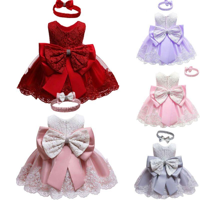 Niños bebé arco chicas fiesta vestido de encaje boda dama de honor vestidos princesa 0-24m niñas sin mangas de arco vestido