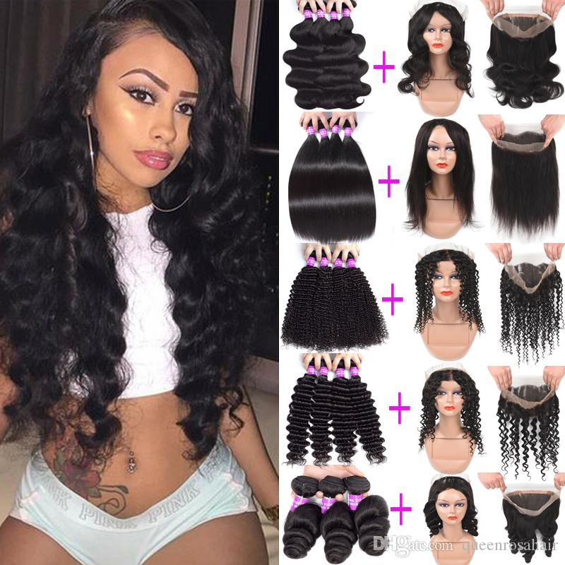 9a Бразильская глубокая волна вьющиеся девственницы человеческие пакеты волос с 360 кружева лобное закрытие дешевые человеческие волосы плетены 3 пучка с 360 фронтальным