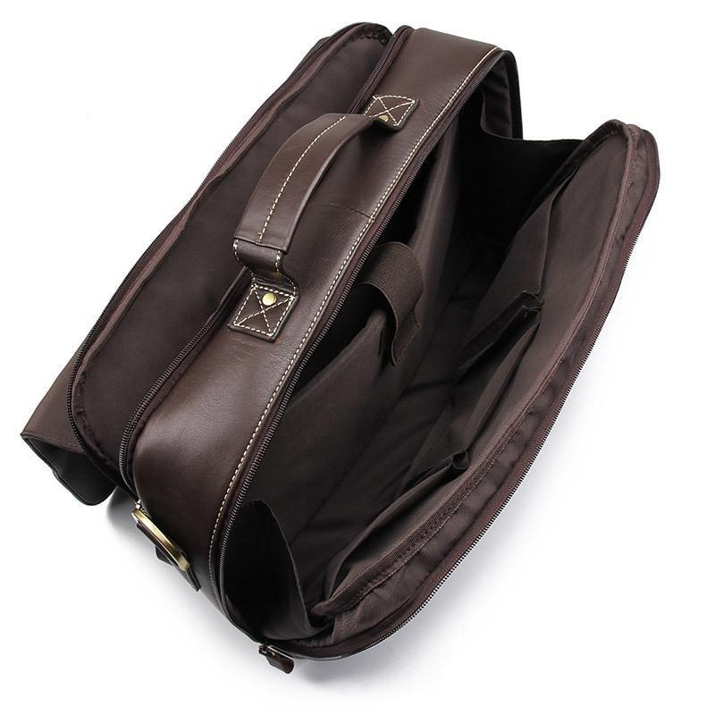 Diseñador-lujo de la caja del ordenador portátil de los hombres del cuero genuino de los bolsos del bolso de cuero de vaca hombres Crossbody Bolsa Hombres Maletín de viaje de cuero, chocolate